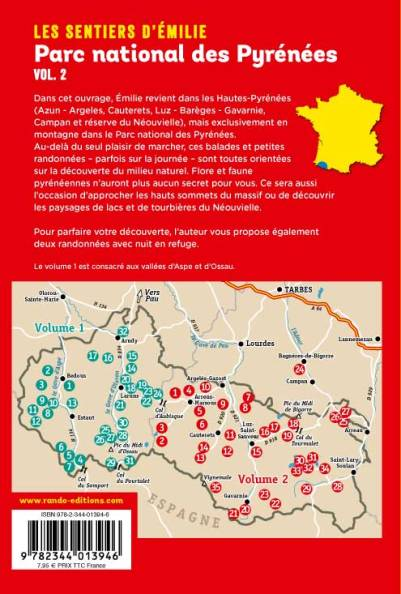 Sentier d'Emilie dans le Parc National des Pyrenees vol 2 carte